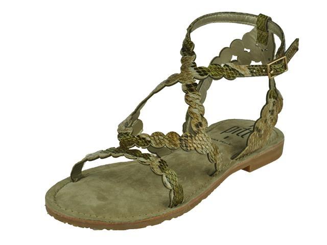 De damesschoen pitt sandaal sandalen in de kleur snake pitt luxe modieuze sandalet. kleur beige groen snake ...