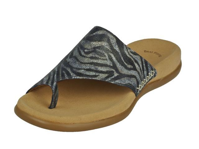 de damesschoen gabor teen slipper slippers in de kleur safari blauwtte gabor teenslipper met zacht voetbed art nr 2370030 kleur safari bluette blauw gabor comfort slipper leder categorie damesschoenen slippers
